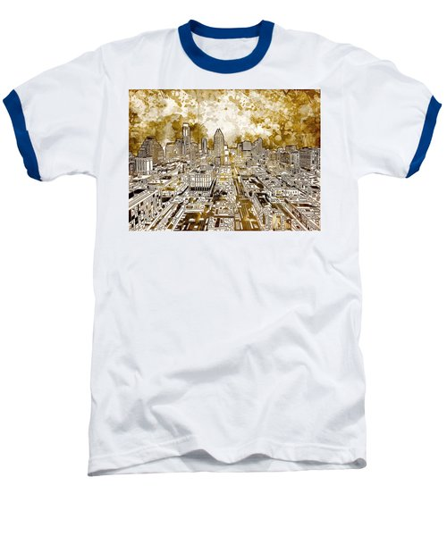 Austin Texas Abstract Panorama 6 Baseball T-Shirt by Bekim Art