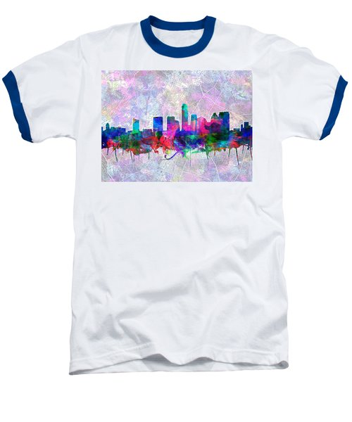 Austin Texas Skyline Watercolor 2 Baseball T-Shirt by Bekim Art