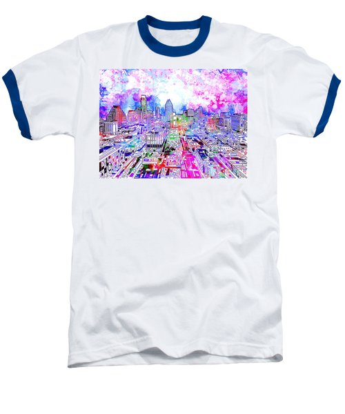 Austin Texas Watercolor Panorama Baseball T-Shirt by Bekim Art