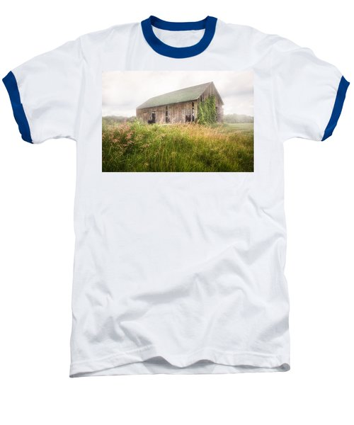 Baseball T-Shirt featuring the photograph Barn In A Misty Field by Gary Heller