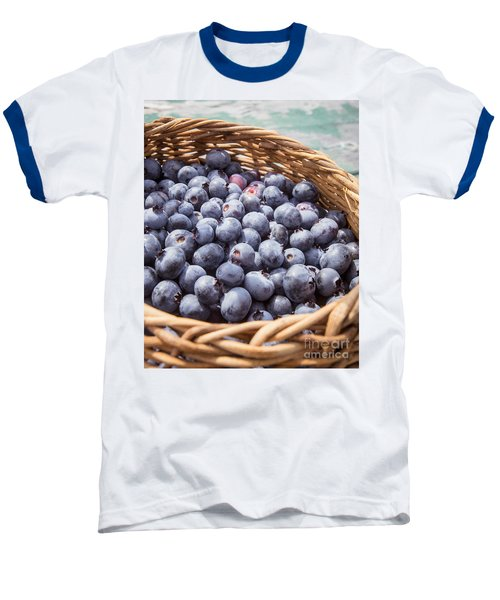 Basket Of Fresh Picked Blueberries Baseball T-Shirt by Edward Fielding