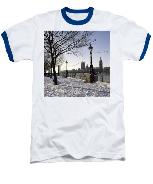 Big Ben Westminster Abbey And Houses Of Parliament In The Snow Baseball T-Shirt by Robert Hallmann