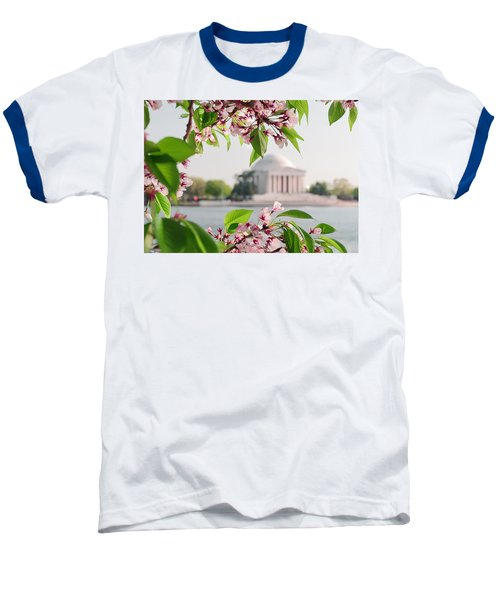 Baseball T-Shirt featuring the photograph Cherry Blossoms And The Jefferson Memorial by Mitchell R Grosky