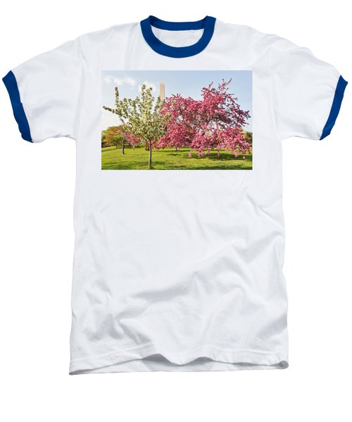 Baseball T-Shirt featuring the photograph Cherry Trees And Washington Monument Three by Mitchell R Grosky