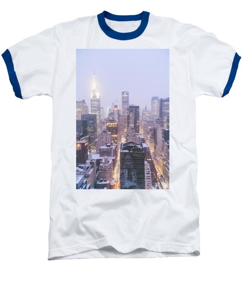 Chrysler Building And Skyscrapers Covered In Snow - New York City Baseball T-Shirt by Vivienne Gucwa