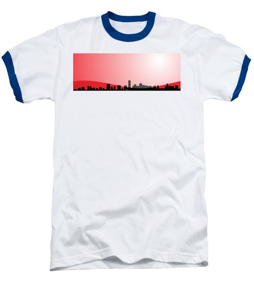 Cityscapes - Miami Skyline In Black On Red Baseball T-Shirt by Serge Averbukh