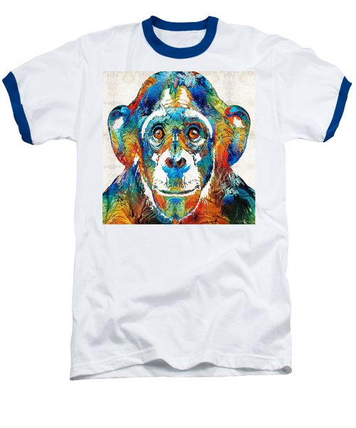 Colorful Chimp Art - Monkey Business - By Sharon Cummings Baseball T-Shirt by Sharon Cummings