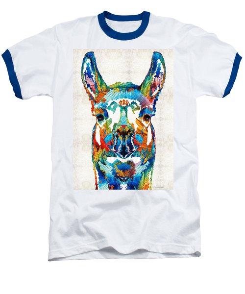 Colorful Llama Art - The Prince - By Sharon Cummings Baseball T-Shirt by Sharon Cummings