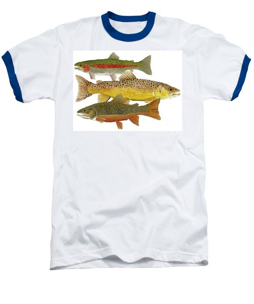 Baseball T-Shirt featuring the painting Common Trout  Rainbow Brown And Brook by Thom Glace