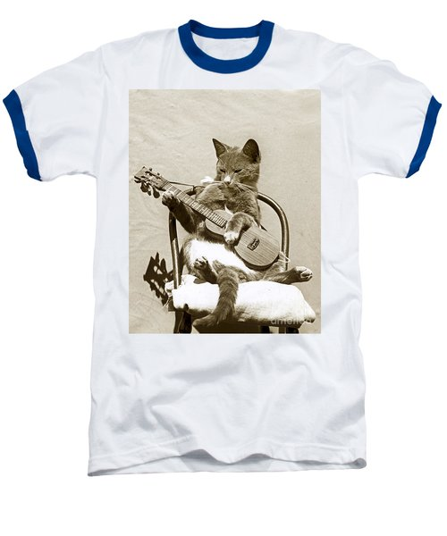 Baseball T-Shirt featuring the photograph Cool Cat Playing A Guitar Circa 1900 Historical Photo By Photo  Henry King Nourse by California Views Mr Pat Hathaway Archives
