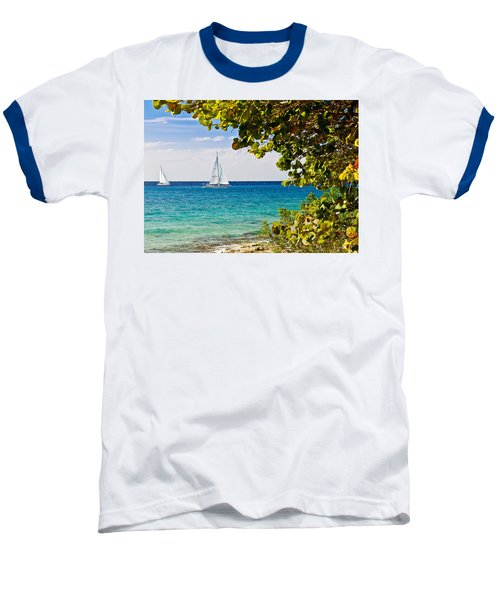 Baseball T-Shirt featuring the photograph Cozumel Sailboats by Mitchell R Grosky