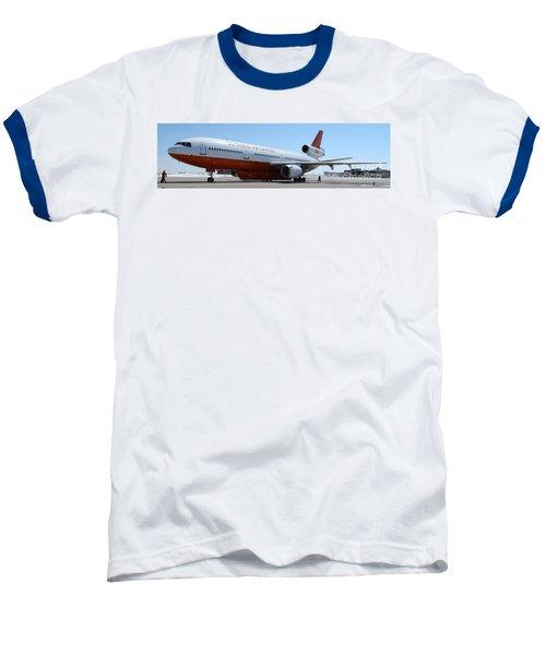 Baseball T-Shirt featuring the photograph Dc-10 Air Tanker At Rapid City by Bill Gabbert