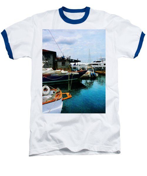 Baseball T-Shirt featuring the photograph Docked Boats In Newport Ri by Susan Savad