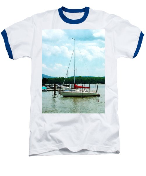 Baseball T-Shirt featuring the photograph Docked On The Hudson River by Susan Savad