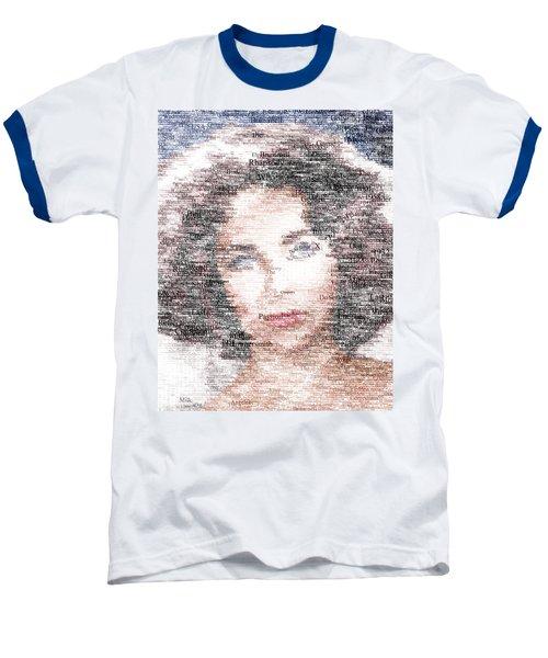 Elizabeth Taylor Typo Baseball T-Shirt by Taylan Apukovska