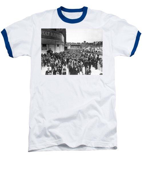 Fans Leaving Yankee Stadium. Baseball T-Shirt by Underwood Archives