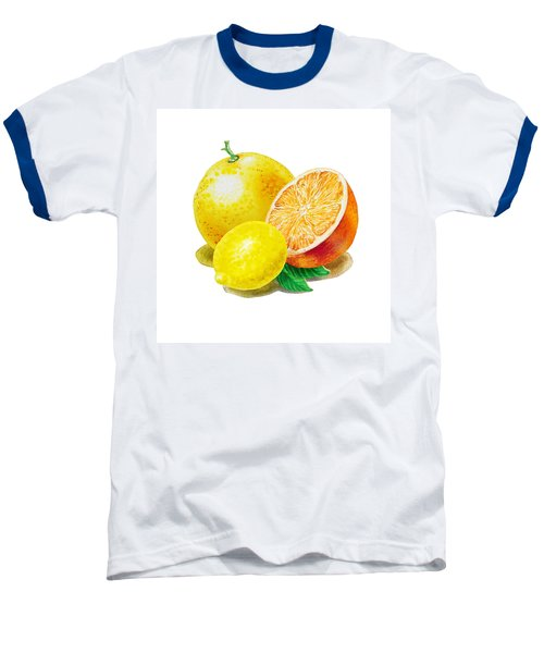 Grapefruit Lemon Orange Baseball T-Shirt by Irina Sztukowski