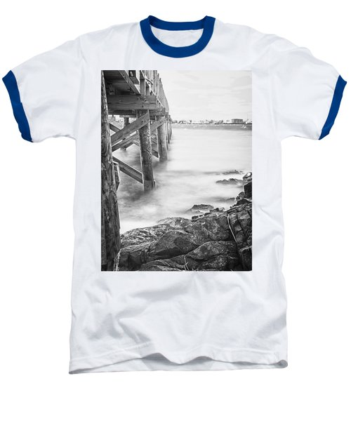 Baseball T-Shirt featuring the photograph Infrared View Of Stormy Waves At Stramsky Wharf by Jeff Folger
