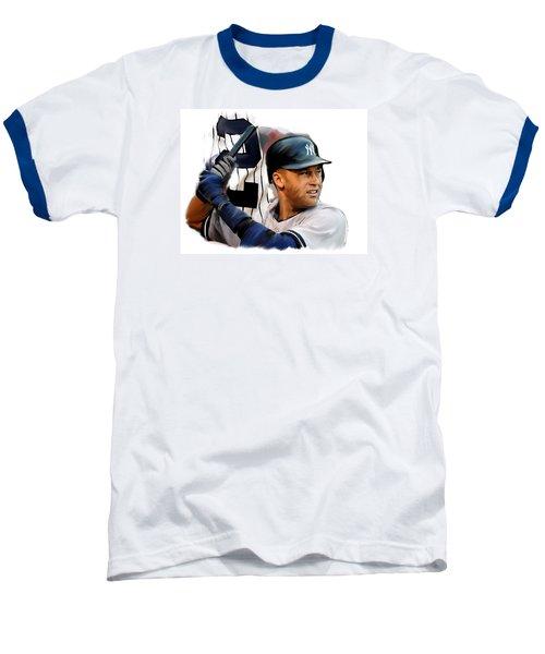 Jeter II  Derek Jeter Baseball T-Shirt by Iconic Images Art Gallery David Pucciarelli