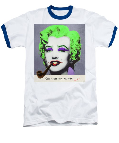 Joker Marilyn With Surreal Pipe Baseball T-Shirt by Filippo B
