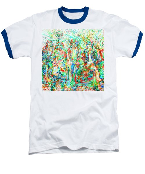 Led Zeppelin - Watercolor Portrait.1 Baseball T-Shirt by Fabrizio Cassetta