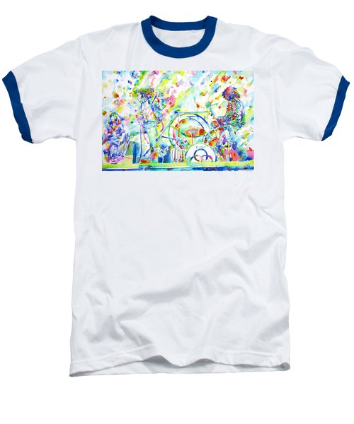 Led Zeppelin Live Concert - Watercolor Painting Baseball T-Shirt by Fabrizio Cassetta