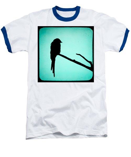Magpie Shrike Silhouette Baseball T-Shirt by Gary Heller