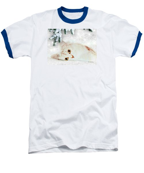 Baseball T-Shirt featuring the mixed media Mistletoe In The Snow by Morag Bates