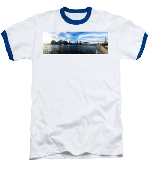New York Skyline - Color Baseball T-Shirt by Nicklas Gustafsson