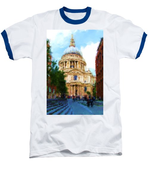 On The Steps Of Saint Pauls Baseball T-Shirt by Jenny Armitage