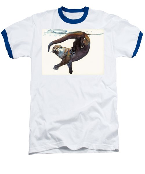 Otter Study II  Baseball T-Shirt by Mark Adlington