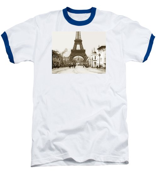 Baseball T-Shirt featuring the photograph Paris Exposition Eiffel Tower Paris France 1900  Historical Photos by California Views Mr Pat Hathaway Archives