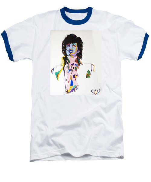 Baseball T-Shirt featuring the painting Prince Purple Reign by Stormm Bradshaw