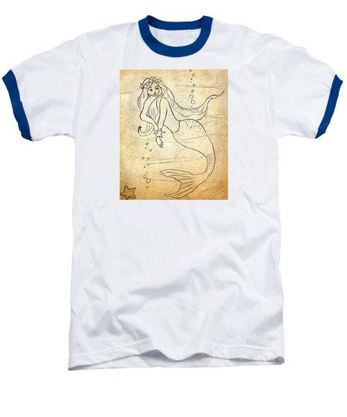 Baseball T-Shirt featuring the drawing Retro Mermaid by Rosalie Scanlon