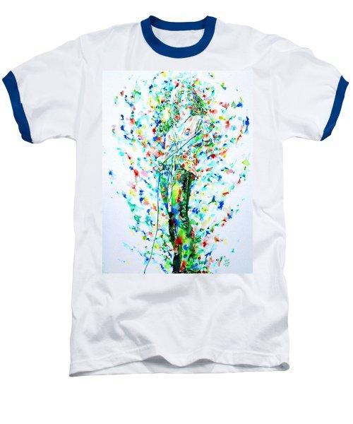 Robert Plant Singing - Watercolor Portrait Baseball T-Shirt by Fabrizio Cassetta