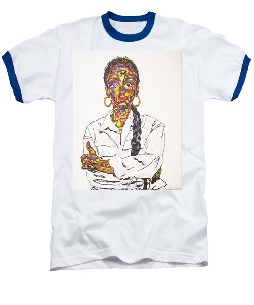 Baseball T-Shirt featuring the painting Abstract Sade  by Stormm Bradshaw