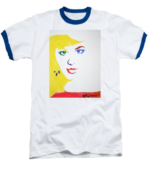Baseball T-Shirt featuring the painting Blonde Mother Nature by Stormm Bradshaw