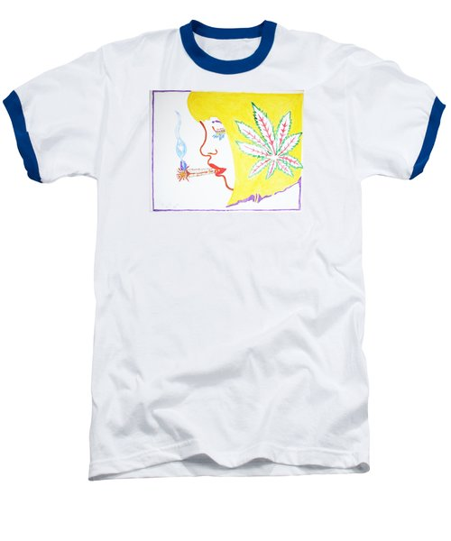 Baseball T-Shirt featuring the painting Smoking Blonde by Stormm Bradshaw