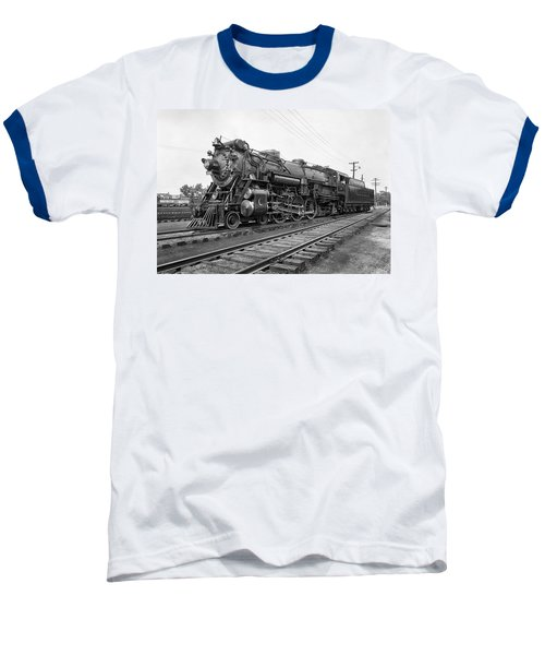 Steam Locomotive Crescent Limited C. 1927 Baseball T-Shirt by Daniel Hagerman