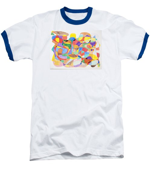 Baseball T-Shirt featuring the painting Abstract Dance Party  by Stormm Bradshaw