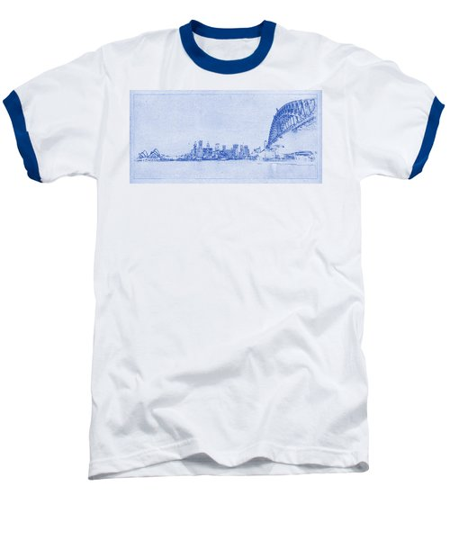 Sydney Skyline Blueprint Baseball T-Shirt by Kaleidoscopik Photography