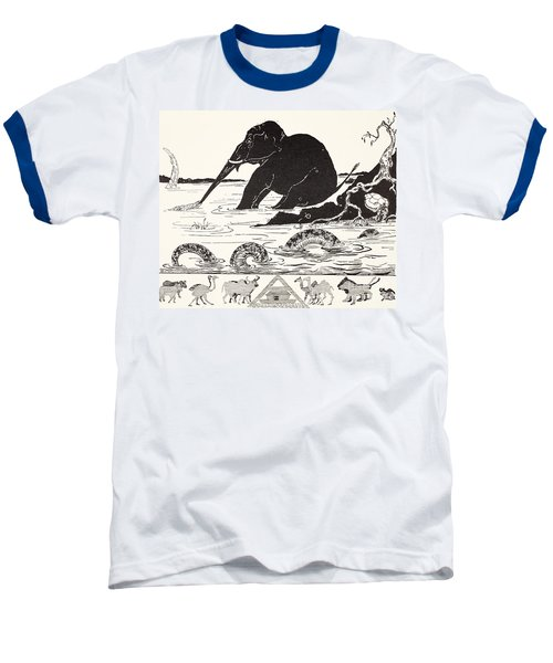 The Elephant's Child Having His Nose Pulled By The Crocodile Baseball T-Shirt by Joseph Rudyard Kipling