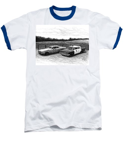 Baseball T-Shirt featuring the drawing The General Lee And Barney Fife's Police Car by Janet King
