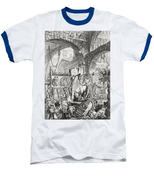 The Man On The Rack Plate II From Carceri D'invenzione Baseball T-Shirt by Giovanni Battista Piranesi