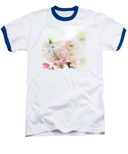 Baseball T-Shirt featuring the mixed media The Silent World Of A Butterfly by Morag Bates