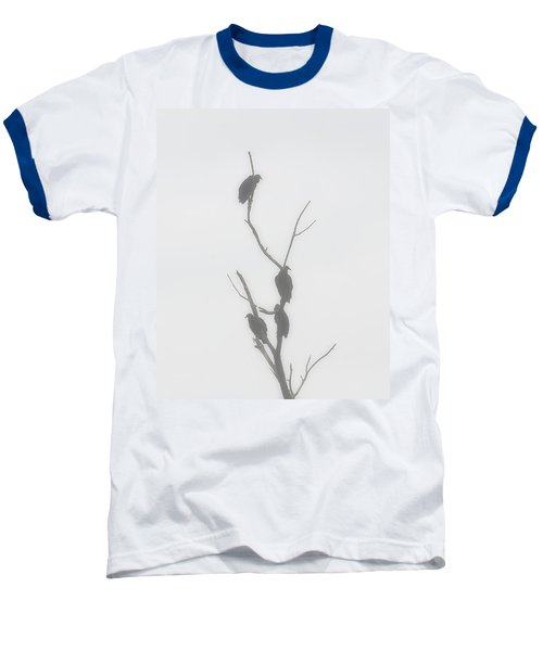 Their Waiting Four Black Vultures In Dead Tree Baseball T-Shirt by Chris Flees