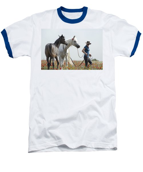 Baseball T-Shirt featuring the photograph Three At The Poppies' Field... 1 by Dubi Roman