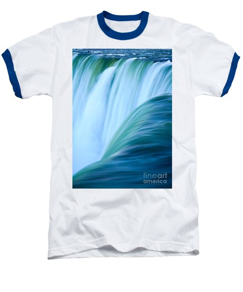Baseball T-Shirt featuring the photograph Turquoise Blue Waterfall by Peta Thames