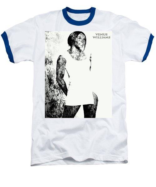 Venus Williams Paint Splatter 2c Baseball T-Shirt by Brian Reaves