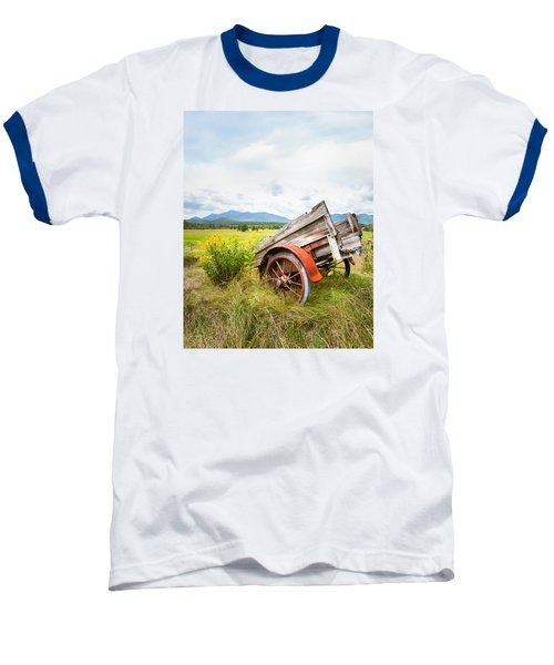 Baseball T-Shirt featuring the photograph Wagon And Wildflowers - Vertical Composition by Gary Heller